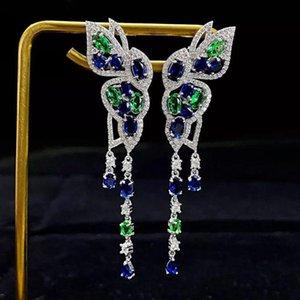 Dangle & Chandelier Arrival 925 Sterling Silver Butterfly Drop Earrings Women High Carbon Diamond Sapphire Gemstone Jewelry Accessories
