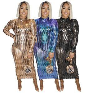 Womens Dresses 섹시한 여성 터틀넥 롱 드레스 스팽글 파티 나이트 클럽웨어 중공 아웃 드레스 여성용 복장 Vestido