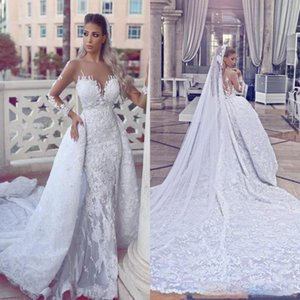 Dubai Arabic Luxury Appliques Lace Ruched Draped Mermaid Wedding Dresses Long Sleeve Jewel Sheer Neck Covered Button Bridal Gown
