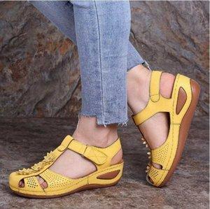 Adisputent Bayan Bayan Ayakkabı Rahat Ayak Bileği Hollow Yuvarlak Toe Sandalet Yumuşak Alt Tek Ayakkabı Oymak Zapatos De Mujer 27te #