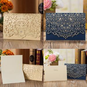 50pcs Blue Gold White Red Elegant Laser Cut Luxury Flora Wedding Invitations Card Lace Favor Free Print Wedding Party Decoration