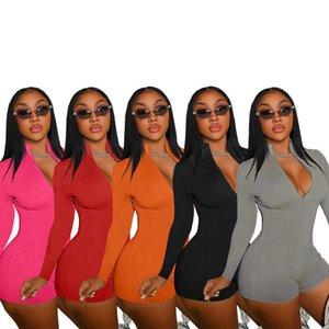 Sexy Women Rompers Fitness Skinny Biker Playsuit Fashion Deep V Neck Long Sleeve One Piece Streetwear Sporting Club Outfit