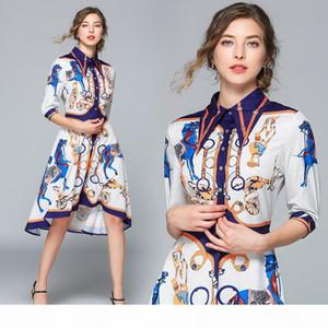 Fashion Runway Dress Summer Women Dress Female Lapel Collar Half Sleeve Shift Irregular Midi Shirt