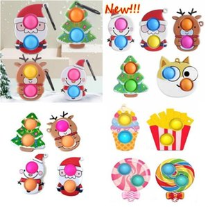 50%off Christmas Fidget Toys Push Antistress Cartoon Toy Party Gifts Simple Dimple Soft Sensory Reusable Squeeze Wholesale