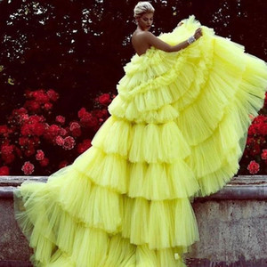 Amazing Layered Tulle Evening Ball Gown Bright Yellow Tiered Chic Evening Dress Long Prom Dresses Custom Made