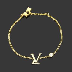 hot hot high quality fashion brand bracelet 316L titanium steel bracelet double pendant bracelet come with box suitable for couples gifts