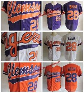 Mens Clemson Tigers Seth Пивная колледж бейсбол джерси дешевый белый оранжевый фиолетовый 28 сет пивовик сшитые рубашки