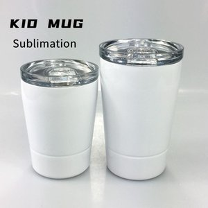 DIY Sublimation 12oz White Kid Mug with Lid Stainless Steel Double Walled Wine Glasses Insulated Child Sippy Cup with Straw Water Bottles