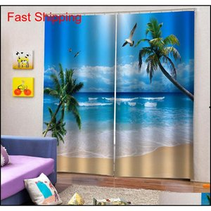 Custom Blue Beach Curtains 3d Window Curtain Luxury Living Room Decorate Cortina Nature jllkTg xhlight
