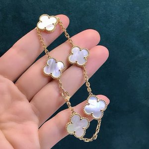 5 Colors Fashion Classic 4 Four Leaf Clover Charm Bracelets Bangle Chain 18K Gold Agate Shell Mother-of-Pearl for Women&Girls Wedding Mother's Day Jewelry Gift-AGG