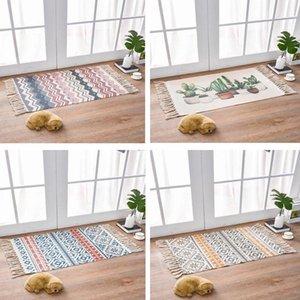 Carpets Retro Bohemian Carpet Hand Woven Cotton Linen Rug Bedside Geometric Floor Mat Living Room Bedroom Home Decor