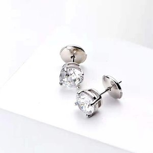 HBP Four claw single drill earrings, female round pure silver gold plating, simple one carat diamond, light luxury temperame
