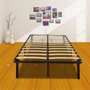 cheap price wholesale New design 79*75*14 Wooden Bed Slat and Metal Iron Stand queen Size Iron Bed Black