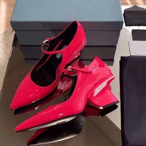 Новые 2020 глянцевые белые патентные кожаные насосы насосы насосы странные каблуки обувь ORI пакет EU 34 до 41