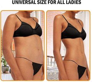 SPA YOLESHY 100 peças descartáveis Underwear t Clip Women's Toe Underwear Pacote de Sol Dombathing, pacote independente, preto