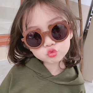 Niños Gafas de sol Dibujos animados Oso Forma Forma Niños Vidrios Sol Redondo Calle Beat Gafas Lindo Bebé Sombras Eyewear UV400 20pcs