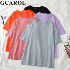 GCarol 2021 T-Shirt Estate Donne Candy Oversize Boyfriend Style Top Perfect Basic Tees rendering PULLOVER IN Abbigliamento superiore sfoderato 210309