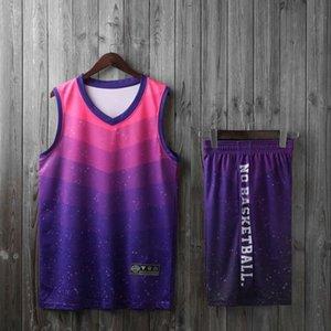 Gradient Basketball Jerseys Set College Team Club Personnaliser Chemise de basket Basketball Hommes Sports Costume En Gros Uniforme 2020