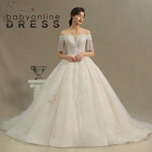 Роскошные шампанские шарнирные платья свадебные платья 2021 настоящие фотографии с плеча бусины с бисером с бисером TassEl рукава корсет назад длинные свадебные платья CPH224
