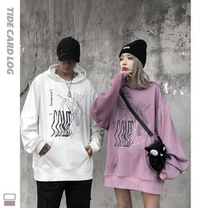 Autumn and winter new fashion brand fashion printing hooded loose long sleeve coat top high street sweater backing_good