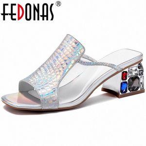 Fedonas Crystal Classic Design Genuine Pelle Donne Sandali Famale Nuovo Arrivo Tacchi alti Pompe Ufficio Lady Summer Scarpe Donna 14Ny #