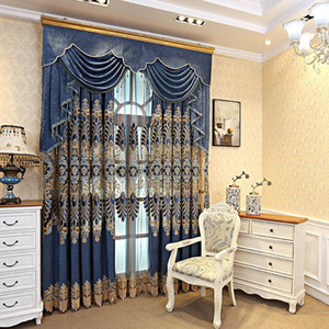 Curtain & Drapes European Style Hollow Chenille Embroidered Curtains For Living Room Bedroom Villa Study Luxury Tulle Valance Custom
