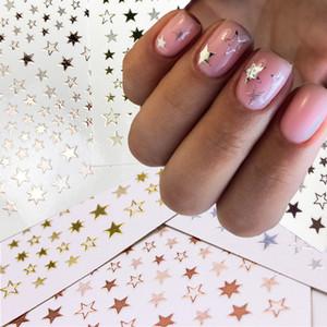 1 pz 3d dorato argento bianco nero stella nail art adesivo geometria adesivo stella sticker fai da te trasferimento per unghie decalcomanie disegni per unghie