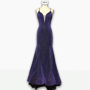 High-cold queen evening dress V-neck backless dark slim evening dress Slim bag hip split dinner dress