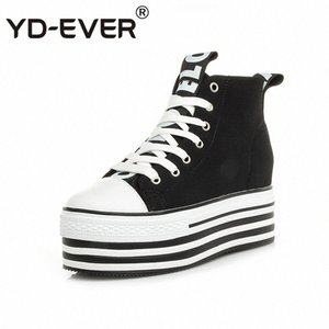 YD-EVER 9cm genuine leather women boots super high heel platform wedge canvas shoes height increasing lace up casual sneakers 36T4#