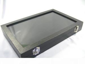 Glass Top Lid Black Velvet 12 Compartments Jewellery Display Case Box