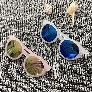 Дети Солнцезащитные очки Конфеты Цвет Мода Солнцезащитные Очки Ослепляет Светоотражающие Световые Очки Детские Открытый Путешествия Металлическая Рамка Очки Красочный B7713