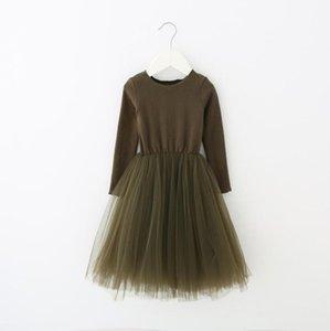 Kızlar Uzun Kollu Tül Etekler Tutu Prenses Elbiseler Çocuklar Tasarımcı Giysi Ins Balo A-Line Elbise Dans Parti Zarif Elbise HWC6145