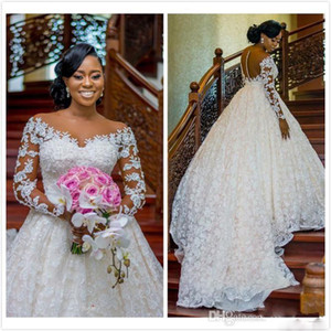 Arabic Luxurious Lace Beaded Ball Gown Wedding Dresses Sheer Neck Long Sleeves Bridal Dresses Vintage Sexy Wedding Gowns Robes De Mariee