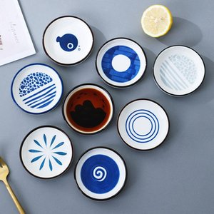 Ceramic Plate Home Kitchen Tableware Kitchen Dip Plate Small Vinegar Plate Soy Sauce Plates 7 Style FWF5214