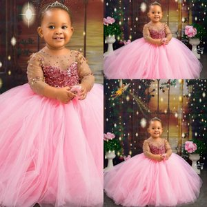 2021 Cute Crystal Pink Flower Girls Dresses Jewel Neck Illusion Beads Ball Gown Long Sweep Train Birthday Communion Children Littler Girl Pageant Gowns