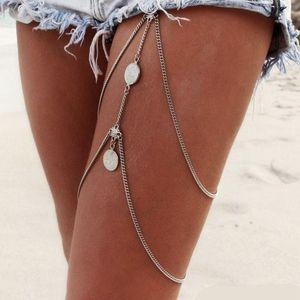 New Fashiopn Sexy Stretchy 2 Tier Layer Leg Chain Vintage Antique Silver Coin Thigh Chain Bohemia Bikini Beach Harness Jewelry