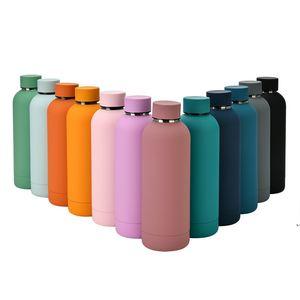 Isolierte Wasserflasche Makaron Farbe 304 Edelstahl Outdoor Frosted Water Flaschen Mode Metall Vakuumflaschen Meer Schiff AHB5216