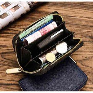 WOMENS brown mono 4 colors CARD holder ZIPPY COIN fashion casual short leather zipper purse 60067 Wallet BOX dust bag