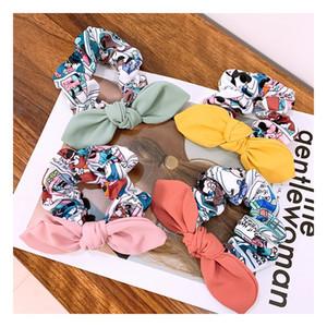 DHL Cartoon print cute plain bow all-match hair tie hair accessories women 4 colours