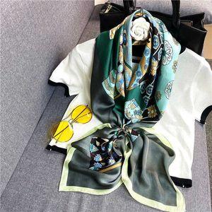 2021 new summer women's shawl Korean national style 90 square printing decorative silk scarf Hairband CULS
