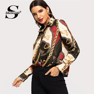 Women Lapel Neck Spring Blouse Chain Printed Luxury Floral Blouses New Autumn Fashion Designer Shirts Tops Long Sleeved Shirt S-5XL