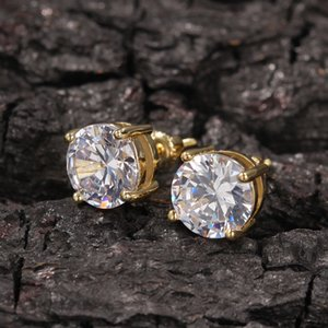 NEW Mens Hip Hop Stud Earrings Jewelry High Quality Fashion Round Gold Silver Simulated Diamond Earrings For Men