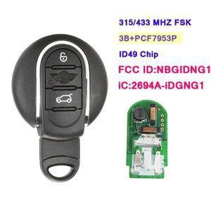 أنظمة إنذار Xnrkey Aftermarket Smart Remote Car Key FOB 3B 315 / 433MHz for Mini Cooper 2013-2021 IC: 2694A-IDGNG1 ID: NBGIDNG1