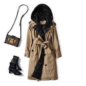 British Down Trench Paird Зима Белая Утка Куртка Женщины с капюшоном Длинные Толстые Теплые Куртки Пупчан Перо Женский Parka Mujer