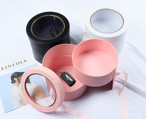NEW PINK Double Layer Round Flower Paper Boxes with Ribbon Creative Rose Bouquet Gift Wrap Packaging Cardboard Box Valentine's Day Wedding