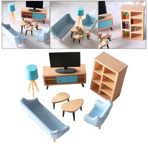 Doll House Miniature Furniture Sofa Tv Cabinet Playset Life Scene Decor Accessories Pretend Play Creative Toy