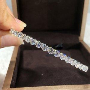 18K Au750 White Gold Women Cuff Bracelet Moissanite Diamonds Round Classic Wedding Party Engagement Anniversary Bangles Trendy 0308