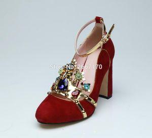 Femmes Runway Red Diamonds Pumps Colorful Crystal Block High Heels Bridal Wedding Dress Pumps Haute Heels 2021