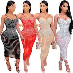 Plus size 3XL Women Rhinestone Dresses mesh sheer night club wear Summer Clothing Sexy maxi Skirts spaghetti strap bodycon Dress S-3XL