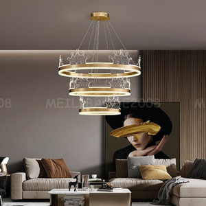 Nueva Lámpara redonda de araña LED moderna Lámparas colgantes para salón Comedor Interior Tricolor Acrílico Lámpara de latón Luz de Luz de Luz de Luz de Lujo